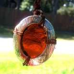 Copper Wrapped, Silver Framed, Amber Glass