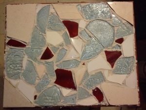 mosaic tile set but not grouted or covered in glass yet
