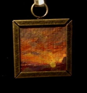 Big Bend National Park sunset acrylic original painting pendant for a necklace.